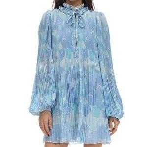 GANNI BLUE PRINTED MINI DRESS NWT SZ 38